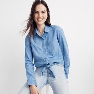 NWT Madewell Denim Tie Front Button Down Shirt